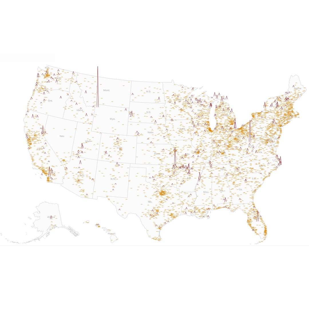 ZIP codes across the U.S. that saw an increase in foot traffic over Memorial Day weekend